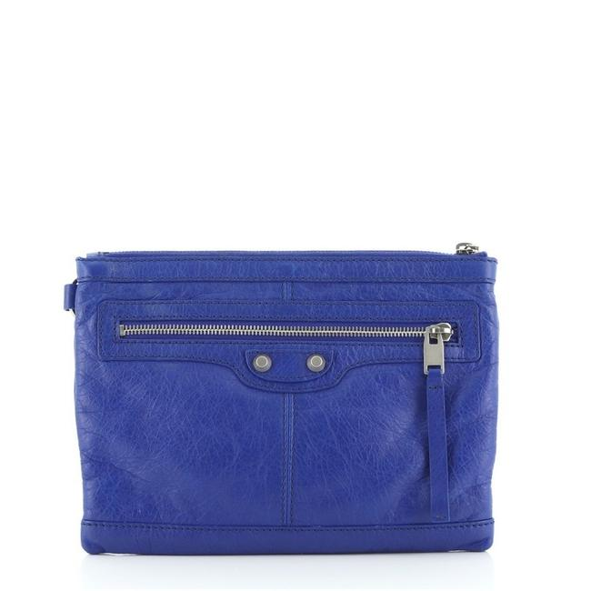 Balenciaga Classic City Pouch Small Blue Leather Clutch Balenciaga Classic City Pouch Small Blue Leather Clutch Image 1