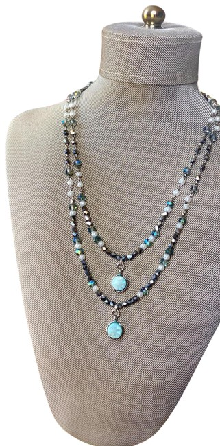 Handmade Silver Teal Green Light Turquoise Druzy Double Layer Necklace Handmade Silver Teal Green Light Turquoise Druzy Double Layer Necklace Image 1