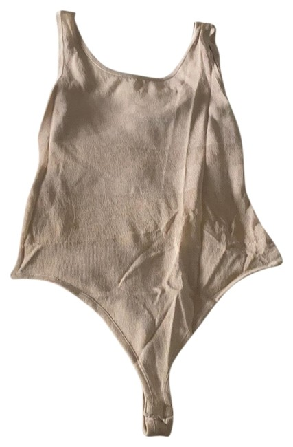 Item - Cream See Thru Thong Body Suit Nude Small Tank Top/Cami Size 4 (S)