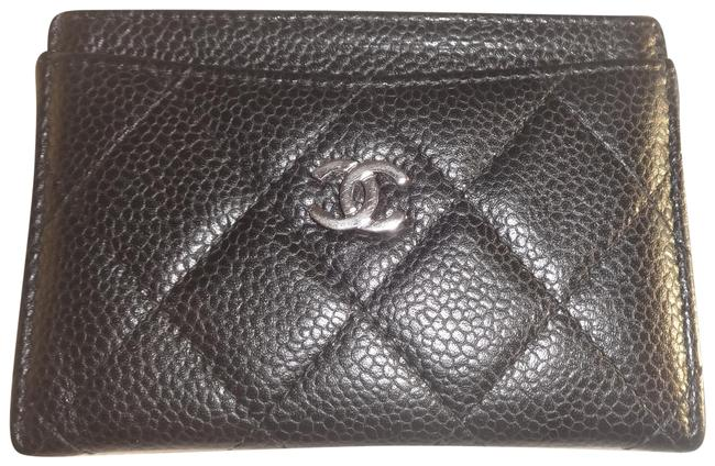 Chanel Black Quilted Cc Card Holder Caviar Leather Very Good Condition Wallet Chanel Black Quilted Cc Card Holder Caviar Leather Very Good Condition Wallet Image 1