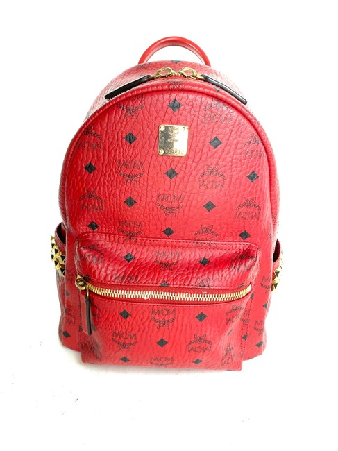 MCM Stark Ruby Small Side Stud 3mcme819 Red Coated Canvas Backpack MCM Stark Ruby Small Side Stud 3mcme819 Red Coated Canvas Backpack Image 1