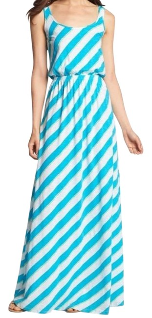Item - Blue Green Tria Stripe Cotton Long Casual Maxi Dress Size 4 (S)