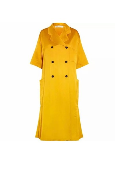 Item - Yellow Pleated Silk Blend Satin Overcoat Coat Size 6 (S)