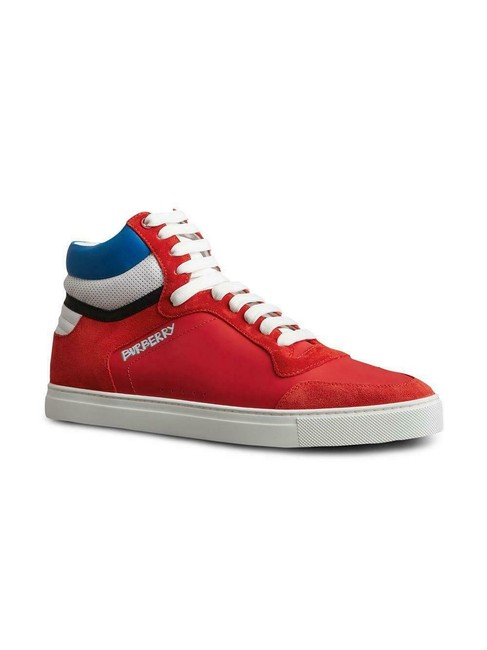 Burberry Red Men's High Top Leather Uk8 Sneakers Size US 9 Regular (M, B) Burberry Red Men's High Top Leather Uk8 Sneakers Size US 9 Regular (M, B) Image 1