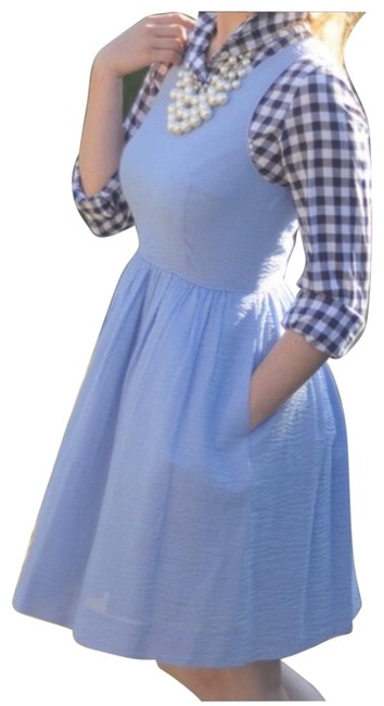 Item - Baby Blue Fit and Flare with Pockets Mid-length Short Casual Dress Size 4 (S)