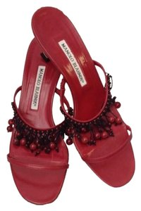 Manolo Blahnik Leather red Sandals