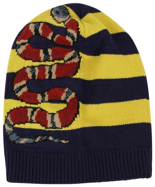 Item - Blue/Yellow Blue/Yellow Striped Wool Knit Beanie with Snake M/58 500928 4075 Hat
