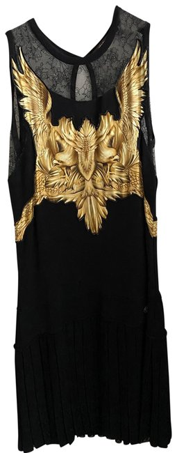 Item - Black with Gold Detail. & Pleated Mid-length Cocktail Dress Size 12 (L)