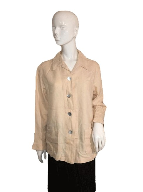 Talbots Tan Sleeve Top with Large Buttons Front Closure (S Blazer Size 6 (S) Talbots Tan Sleeve Top with Large Buttons Front Closure (S Blazer Size 6 (S) Image 1