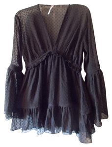 Free People Boho Flared Bell Sleeve Top Black