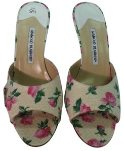 Manolo Blahnik Floral Silk Open Toe Cream/Multi Sandals