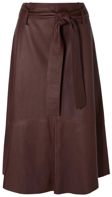 Item - Brown/Maroon Belted Leather Skirt Size 2 (XS, 26)