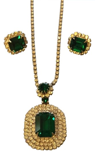 Other Vintage Costume Emerald & Crystal Trio