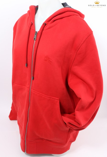 Item - Red Men's Blended Woven Hoodie Shirt