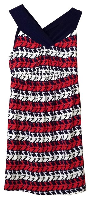 Item - Navy Red and White Never Worn Stork Pattern Maternity Dress Size 4 (S, 27)