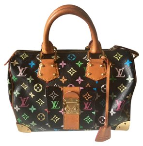 Louis Vuitton Takashi Murakami Murakami Speedy 30 Designer Hand Limited Edition Satchel in Multicolor noir black