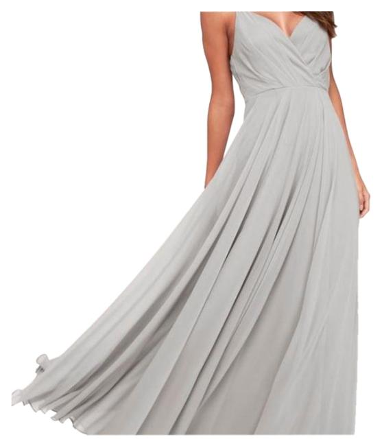 Item - Grey All About Love Light Maxi Long Formal Dress Size 8 (M)