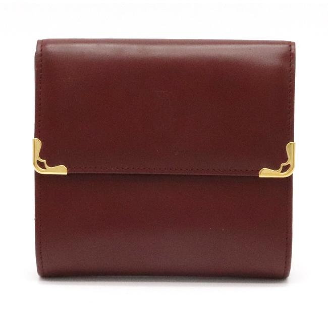 Item - Bordeaux / Gold W Mast Line De Hook Double Leather Hardware L3000505 Wallet