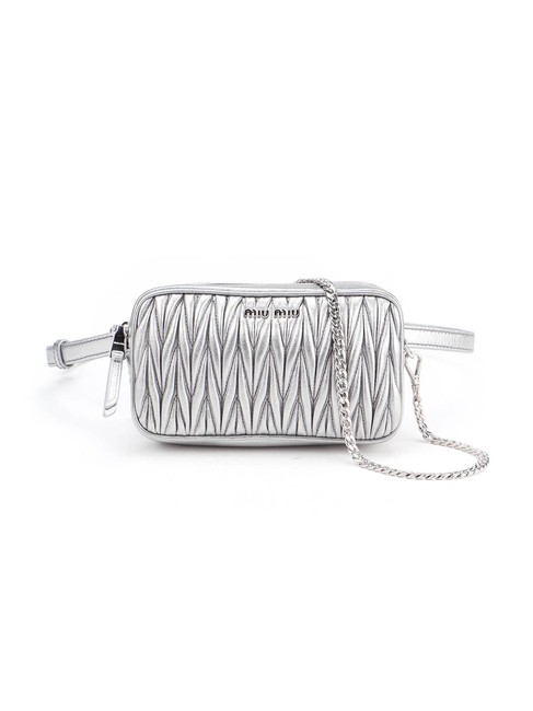Item - Belt Spk Metallic Matelassé Silver Lambskin Leather Shoulder Bag