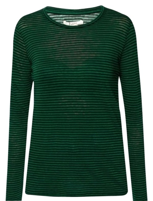 Item - Green Black T-shirt with Long Sleeves Tee Shirt Size 4 (S)