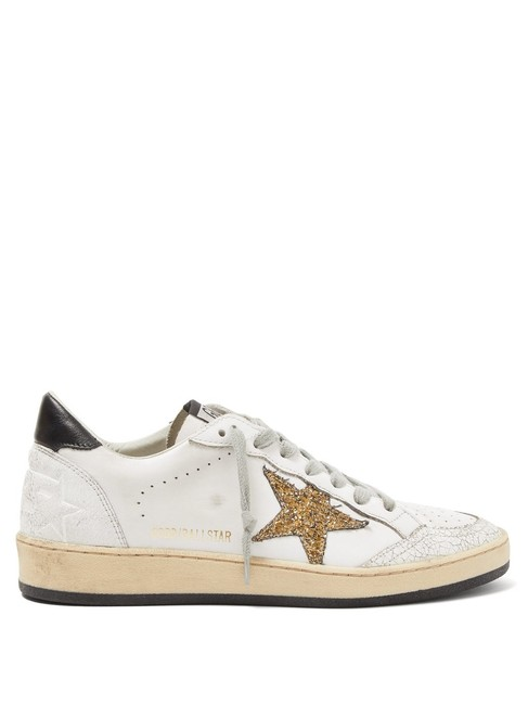 Item - White/Gold/Black Mf Ball Star Glitter-applique Leather Trainers Sneakers Size EU 35 (Approx. US 5) Regular (M, B)