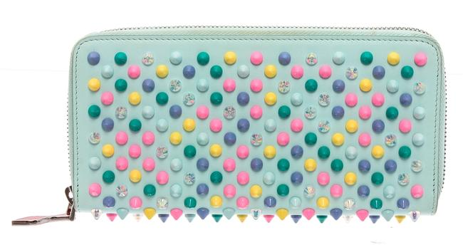 Item - Sky Blue Leather Panettone Studded Leather Wallet