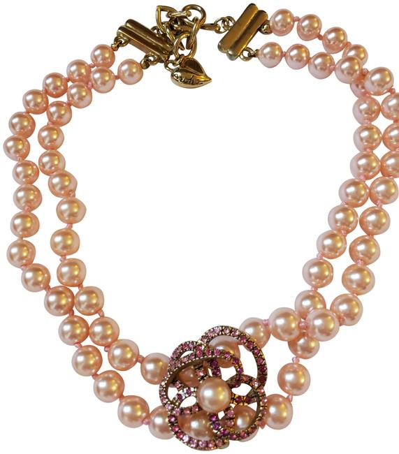 Item - Pink Faux Pearl Double Strand with Rhinestones Flower Necklace