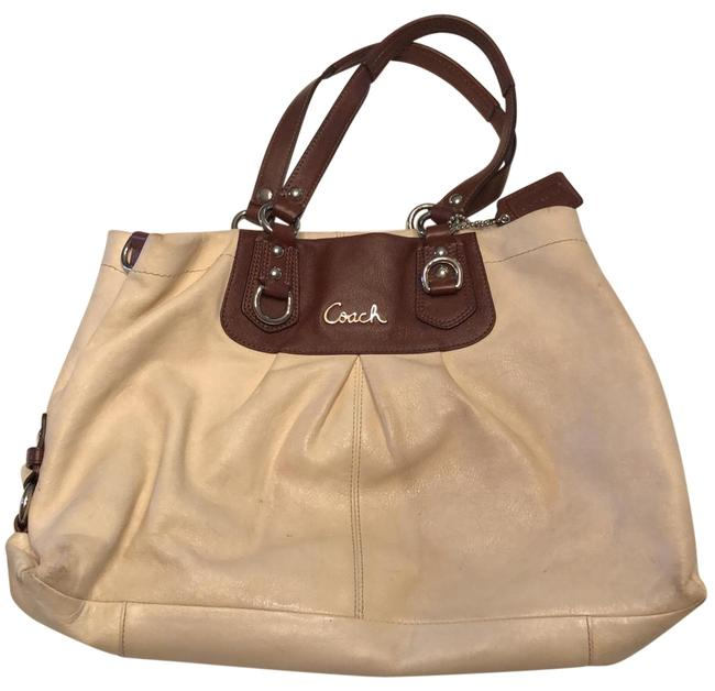 Item - Purse Cream with Brown Straps Leather Baguette