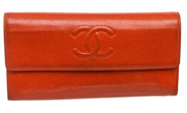 Chanel Red Caviar Leather Cc Long Flap Wallet Chanel Red Caviar Leather Cc Long Flap Wallet Image 1