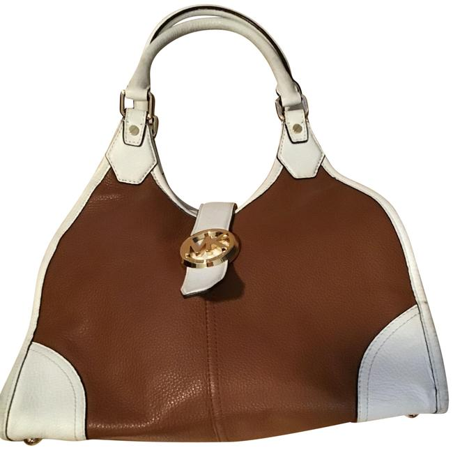 Item - Hudson Large Two Tone Tote 38s4chue3t Luggage / Optic White Leather Shoulder Bag