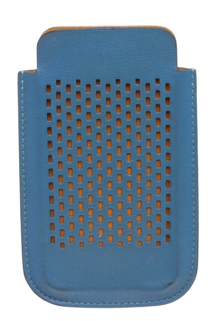 Item - Blue Perforated Leather Iphone 4 Case Tech Accessory