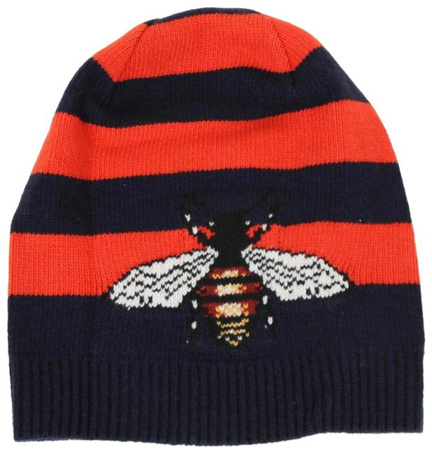 Gucci Blue/Red Striped Wool Knit Beanie with Large Bee M/58 500930 4274 Hat Gucci Blue/Red Striped Wool Knit Beanie with Large Bee M/58 500930 4274 Hat Image 1