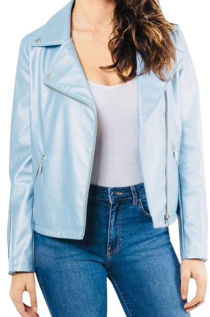 Item - Light Blue Metallic Faux Leather Jacket Size 2 (XS)