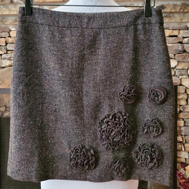 Item - Brown Wool Blend Flower Applique Skirt Size Petite 4 (S)