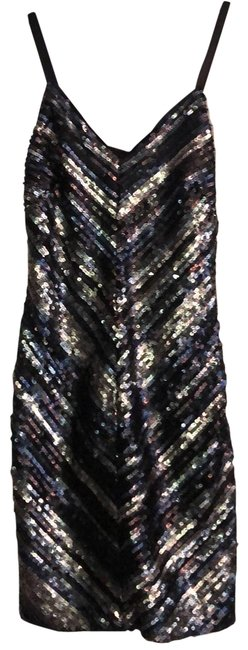 Item - Silver Gray and Black Sequined Short Night Out Dress Size 0 (XS)