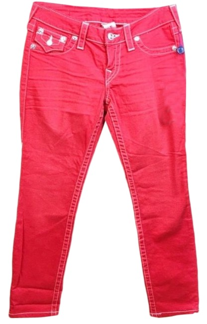 Item - Red Dark Rinse With Flaps Skinny Jeans Size 27 (4, S)