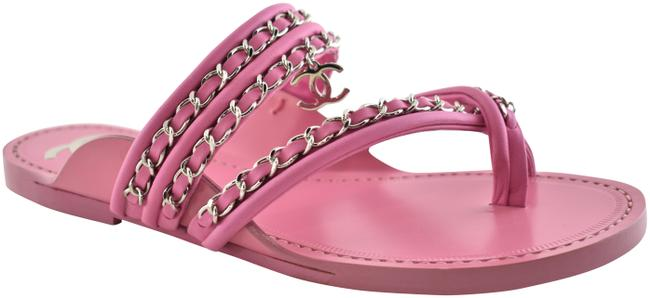 Item - Pink 19c Leather Silver Chain Cc Logo Mule Slide Toe Ring Flat 36c Sandals Size EU 36 (Approx. US 6) Wide (C, D)