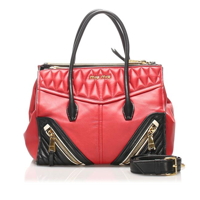 Item - Biker Nappa Red Leather Satchel