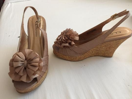 CL by Laundry Flower On Top Cork Beige Wedges