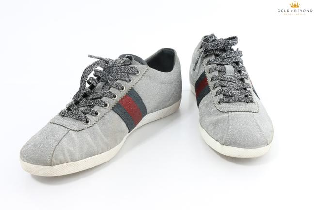 Item - Glitter Silver Men's Web Ace Sneaker with Studs Shoes