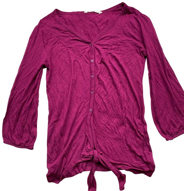 Item - Magenta Pink Button Up Knit Blouse with Tie Small Button-down Top Size 4 (S)