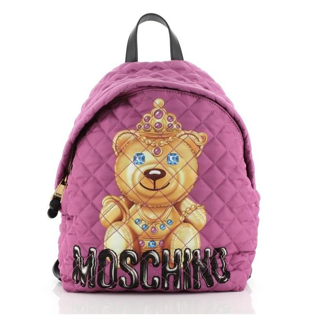 Item - Teddy Bear Quilted Printed Medium Purple Nylon Backpack