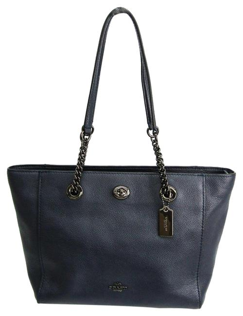 Item - Bag Trim Turnlock Chain 57107 Women's Navy Leather Tote