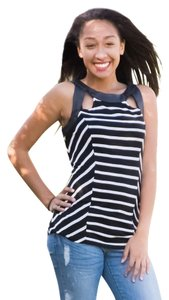 INC International Concepts Black/White Halter Top
