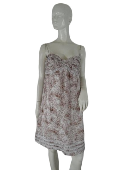 Item - Brown and White Loft & (Sku 000197-5) Mid-length Short Casual Dress Size 12 (L)