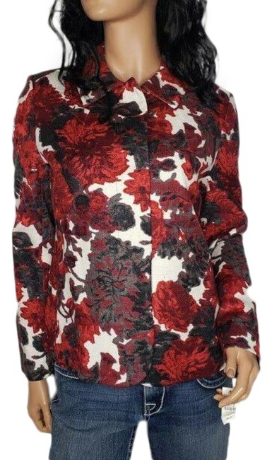 Item - Red Floral Cotton Snap Button Front Lined Jacket Blazer Size 8 (M)
