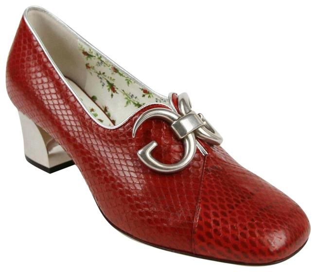Item - Red Python Leather with Silver Gg 35.5/Us 474463 6471 Pumps Size US 5.5 Regular (M, B)