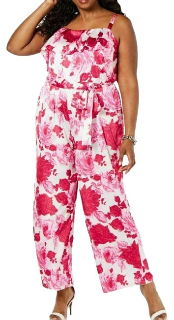 Item - Pink / White New 14w Women's Plus Size Floral Popover Romper/Jumpsuit