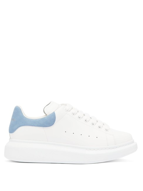 Item - White/Lt. Blue Mf Raised-sole Leather Trainers Sneakers Size EU 40.5 (Approx. US 10.5) Regular (M, B)