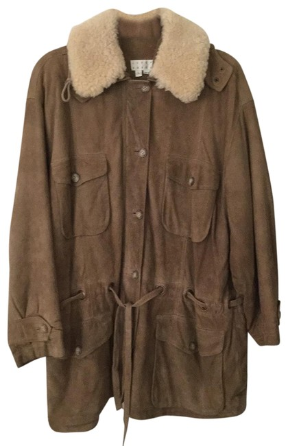 Item - Greenish Brown Ladies Suede with Shearling Collar Jacket Size 14 (L)